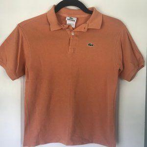 Lacoste Boys Short Sleeve Orange Polo Shirt Sz 12